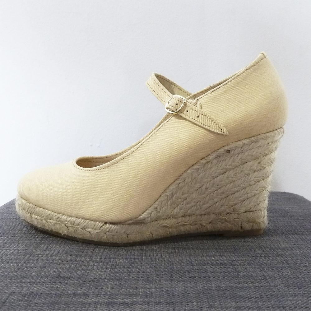 Zapato cuña esparto beige