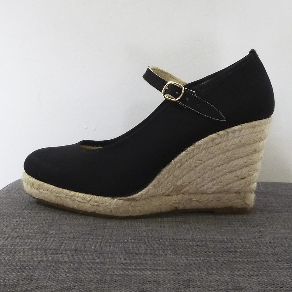 Zapato cuña esparto negra