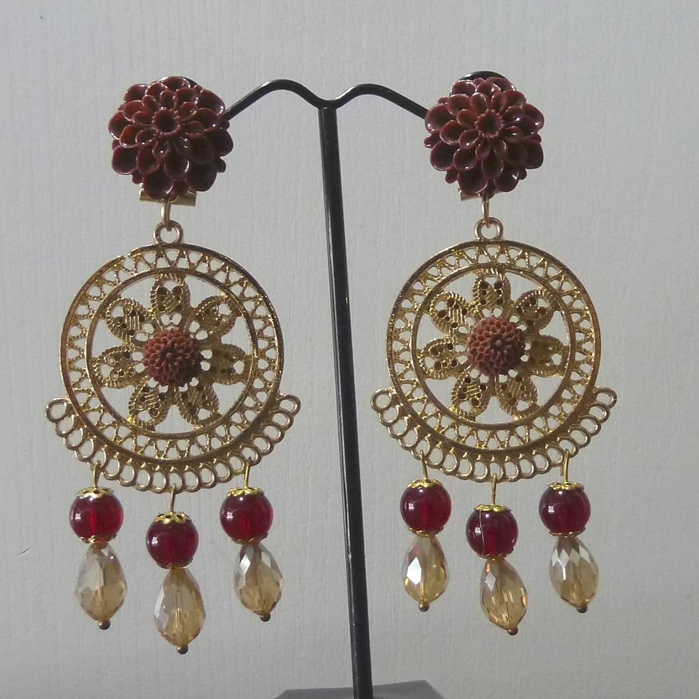 Pendiente flamenca dorado y marrón