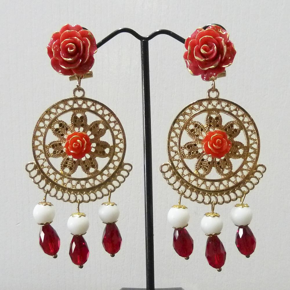 Pendiente flamenca dorado, blanco y rojo